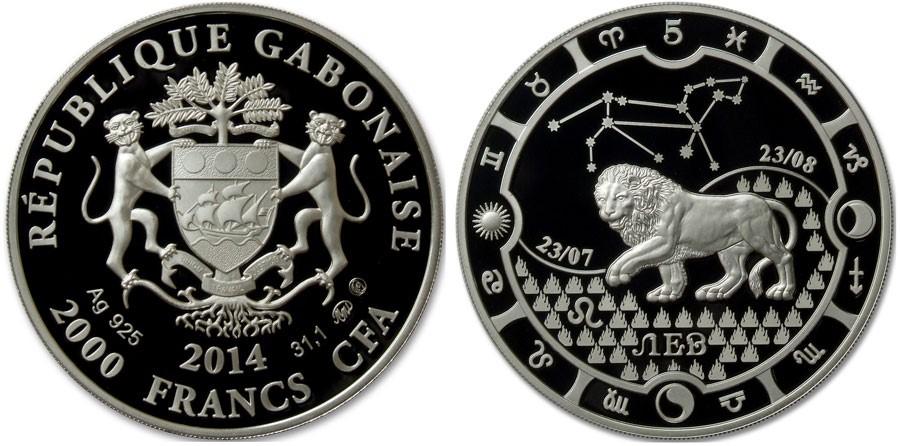 Монета знак зодиака лев серебро 2000 франков кфа тыл монеты