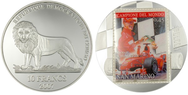 Монета - марка. Михаель Шумахер (stamp coin. Michael Schumacher) - 07